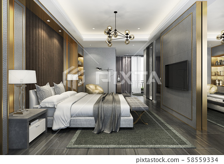 3d rendering beautiful luxury bedroom suite in hotel with tv and working table  58559334