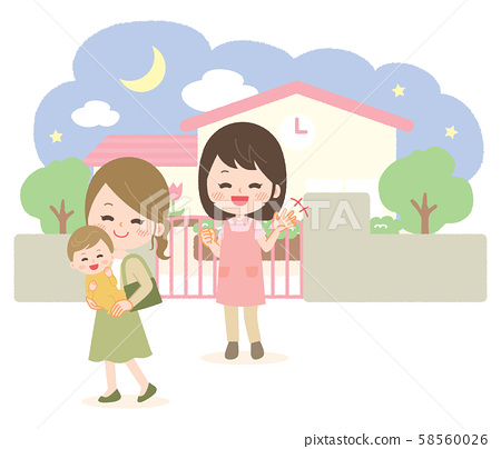 Nursery school kindergarten morning pick-up pick-up illustration 58560026