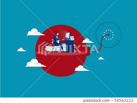 Businessman in hard work and sitting on deadline bomb. Stress at work. vector 58562222