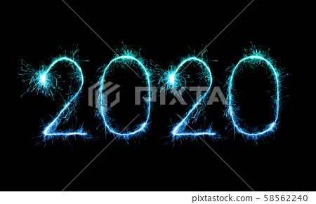 2020 happy new year fireworks written sparklers at 58562240