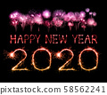 2020 happy new year fireworks written sparklers at 58562241