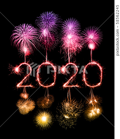 2020 happy new year fireworks written sparklers at 58562245