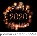 2020 happy new year fireworks written sparklers at 58562246