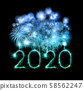 2020 happy new year fireworks written sparklers at 58562247