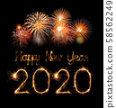 2020 happy new year fireworks written sparklers at 58562249