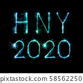 2020 happy new year fireworks written sparklers at 58562250