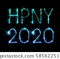 2020 happy new year fireworks written sparklers at 58562251