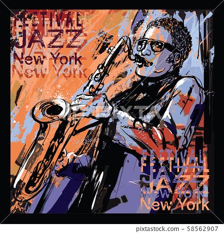 saxophone player on grunge background 58562907