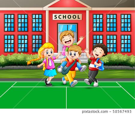 Cartoon the children going home after school 58567493