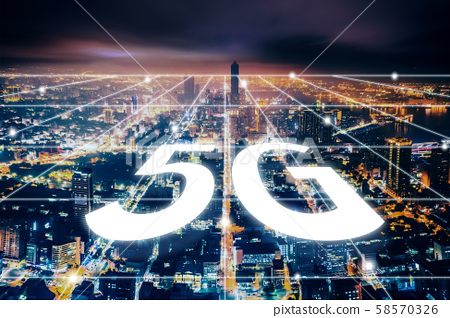 aerial view city at  night  and 5g network  tech 58570326