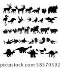 Silhouettes of cartoon animals 58570592