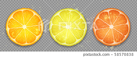 Slice of citrus fruit lemon, orange and grapefruit 58570838