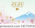 2020年兒童新年卡富士山和櫻花暴風雪 58570958