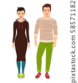 Couple in hipster style clothes 58571182