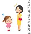 어른이 질문을하는 어린 소녀 58573745