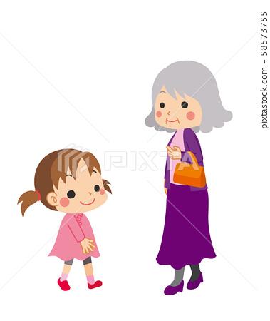 Senior woman walking with handbag and girl walking 58573755