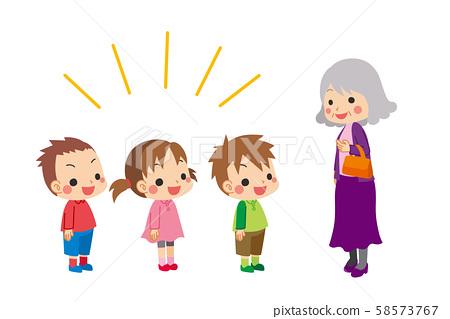 彬彬有礼的小孩高高兴兴地打招呼 58573767