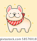 French bulldog with red collar cartoon hand drawn 58576018