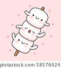 Cute marshmallow in stick cartoon hand drawn style 58576024