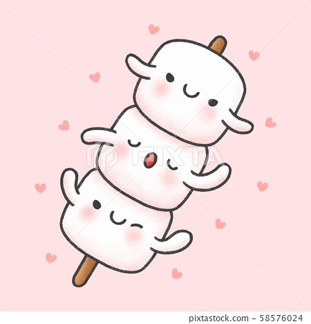 Cute marshmallow in stick cartoon hand drawn style 58576024