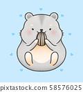 Cute hamster eating sunflower seed cartoon 58576025