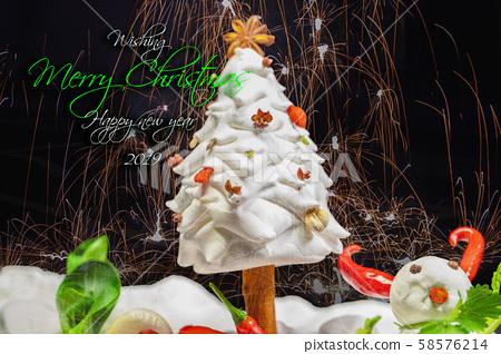 耶誕賀卡,食材,雪人,クリスマスグリーティングカード、食材、雪だるま、 ingredients,  58576214