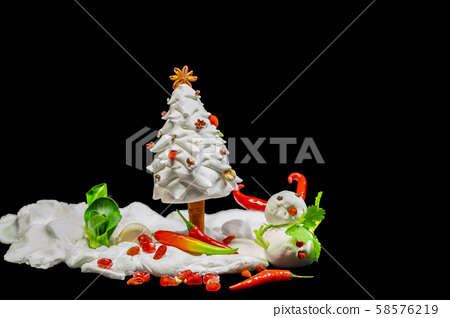 耶誕賀卡,食材,雪人,クリスマスグリーティングカード、食材、雪だるま、 ingredients,  58576219
