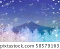 白银树,富士山上的雪 58579163