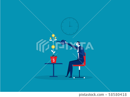 businessman is watering a pot with a growing business idea, a business startup.vector 58580418