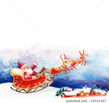 크리스마스 산타 배경 일러스트 수채화 58581487