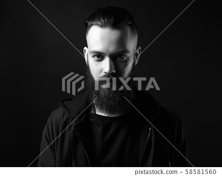 Black and white portrait of Man. Bearded Handsome 58581560