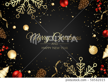 Merry Christmas and Happy New Year. Festive background composition top view. Decoration gift box 58582015