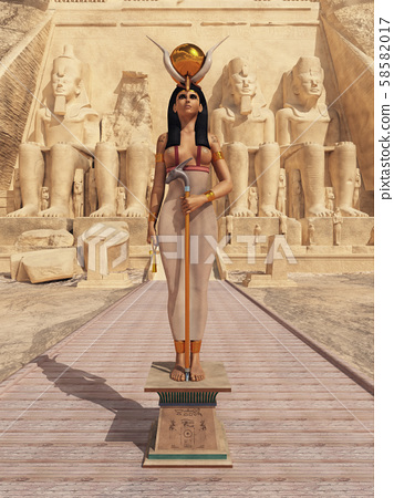 Goddess Hathor in front of the temple of Abu Simbel in Egypt 58582017