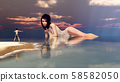 Man on the beach and huge woman bathing in the sea 58582050