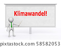 3D figure in front of a projection screen with the German word Klimawandel 58582053