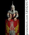 Praetorian guard in ancient Rome against a black background 58582057