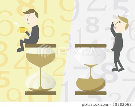 모래 시계와 시간 없음 1 여유있는 남성과 초조 남자 58582068