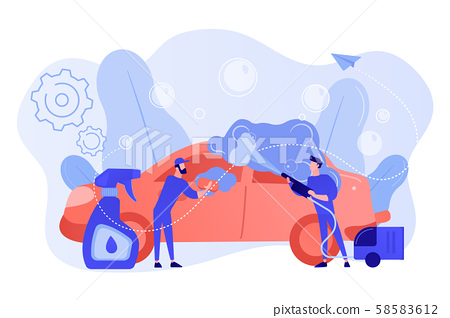 Car wash service concept vector illustration. 58583612