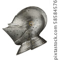 Knights medieval helmet side profile isolated on white 58584576