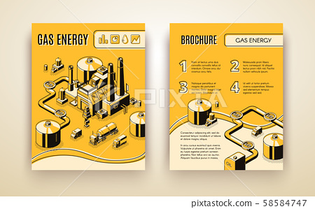 brochure with gas energy plant, refinery 58584747