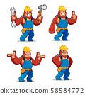 vector set of Worker Gorilla mascot 58584772