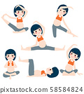 Young asian beautiful pregnant woman set poses collection training and exercising 58584824