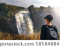 Tourist looks at the Victoria Falls on Zambezi River in Zimbabwe 58584884