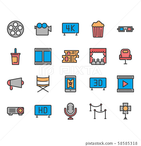 Cinema icon set.Vector illustration. 58585318
