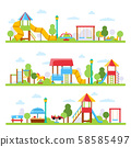 Horizontal illustrations with various views of children playground in urban park 58585497