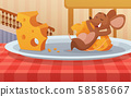 Mouse sitting on the plate and eats cheese. Funny cartoon character 58585667
