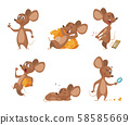 Various characters of mice in action poses 58585669