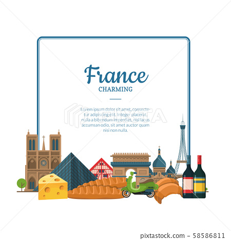 Vector cartoon France sights and objects. Paris text frame 58586811