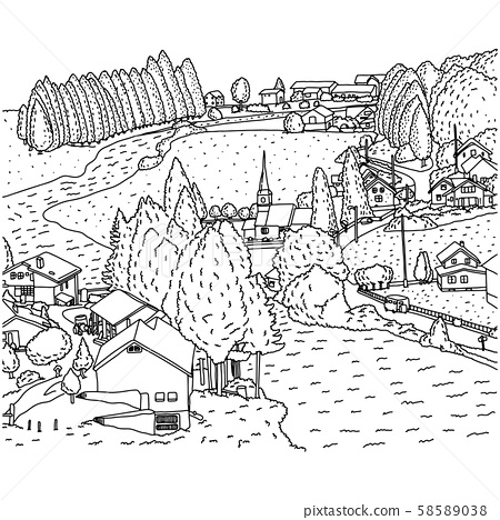 countryside landscape with house and river vector 58589038