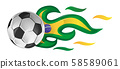 soccer ball on fire with brazil flag. illustration 58589061